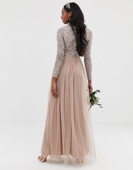 c21449fd3d Maya Tall Bridesmaid long sleeve sequin top maxi tulle dress in 2019 ...