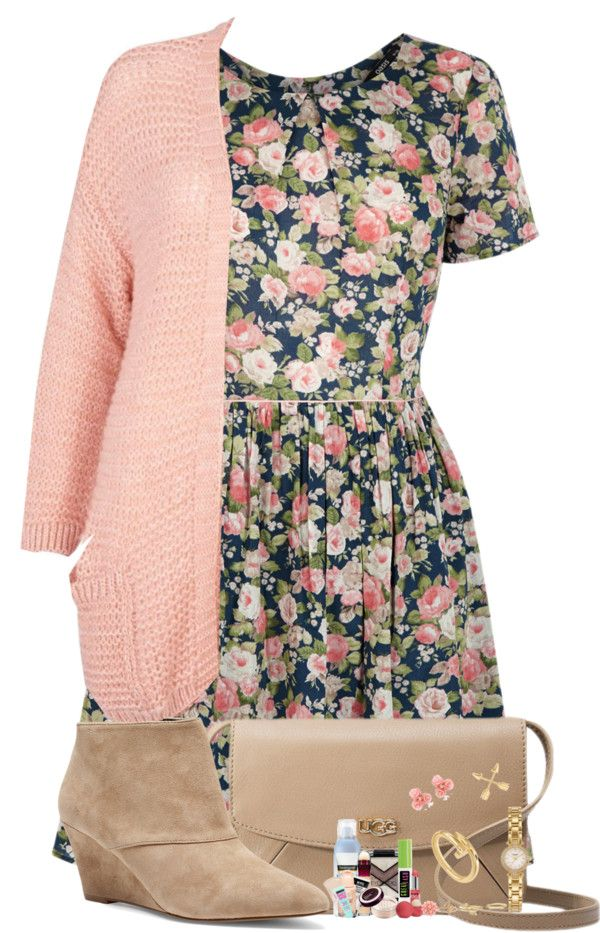 floral dress with pink cardigan spring outfit for girls bmodish