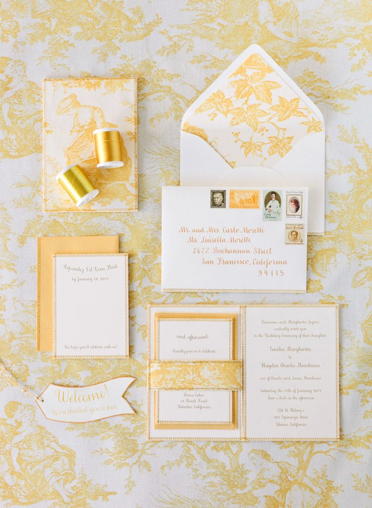 design by Shannon Leahy, flowers by Max Gill, and photography by Josh Gruetzmacher,: Invitations Wedding, Idea, Gold Wedding Invitations, Of Invitations, Yellow Wedding Invitations, Invitation Suite, Ivory Wedding Invitations