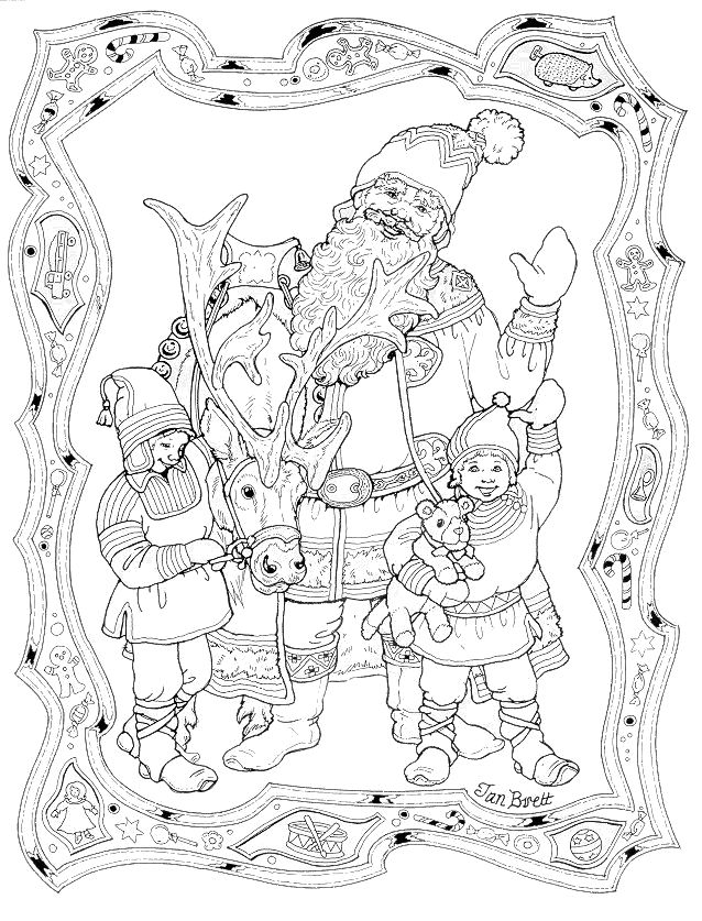 santa and his elves nice detailed coloring page but light lines christmas coloring page courtesy of jan bret coloring pages detailed big kids