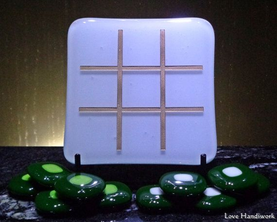 White with Gold Slumped Fused Glass Tic Tac Toe by LoveHandyWork