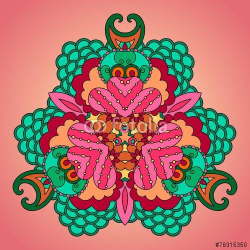 Вектор: Pink-green mandala.