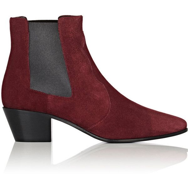 Saint Laurent Women's Rock Chelsea Boots found on Polyvore featuring shoes, boots, ankle booties, ankle boots, burgundy, short boots, slip on boots, pointed toe booties and pull on boots