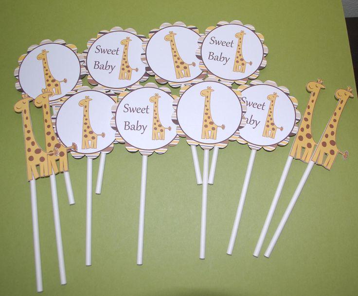 Giraffe Cupcake Toppers (set of 12) -- Grace's birthday?