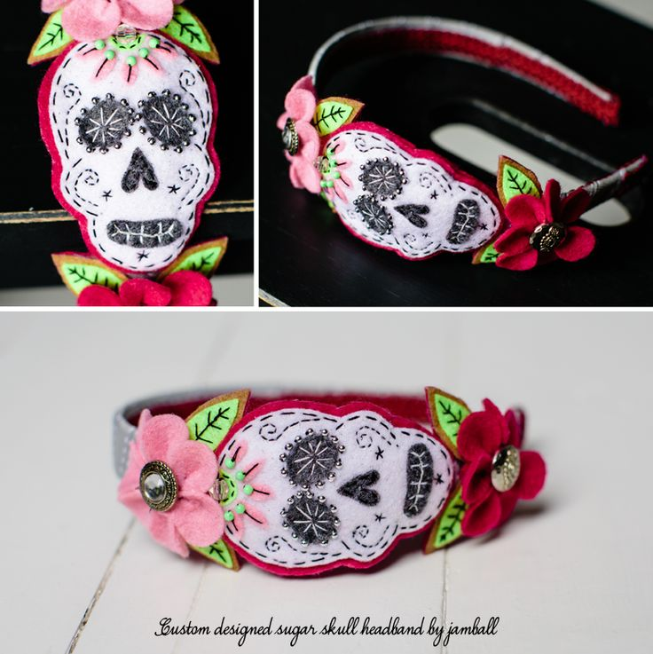 Sugar skull felt & button handmade headband full of detail can be made to order in various colours.