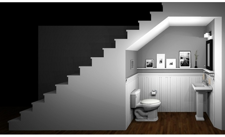Powder room under stairs for the basement would we have for Bathroom design under stairs