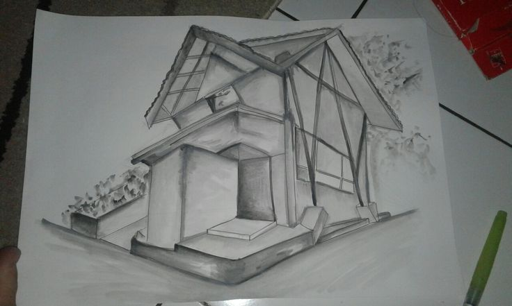 PERSPECTIVE DRAWING 2 VANISH POINT-   Security Post near Kutek.  By Virania Syifa  #architecture #drawing #design #monocrom #perspective