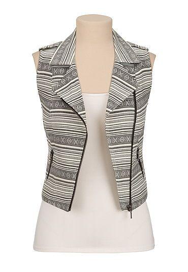 Printed moto vest