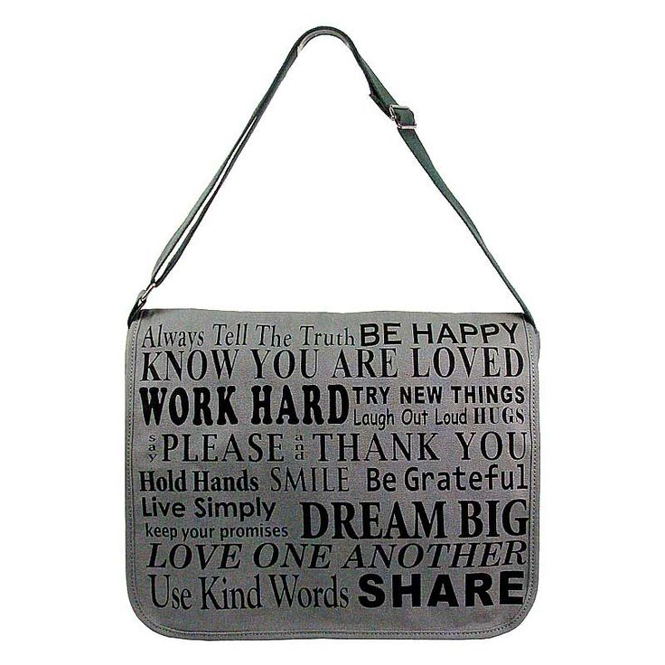 Simple Quote Canvas Printed Messenger Bag