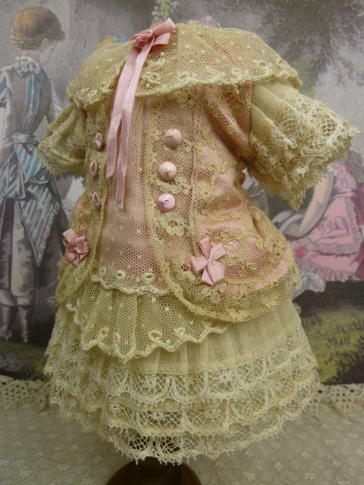French pink silk and tulle couturier dress for a tiny antique Bébé from stairwaytothepast on Ruby Lane