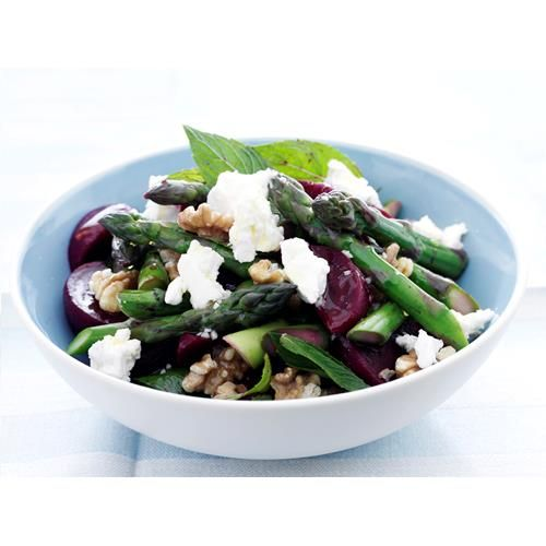 Beetroot, asparagus and feta salad recipe - By Australian Women's Weekly, This simple vegetable dish only utilises a couple ingredients, but the fresh mint, sweet beetroot and salty fetta make this a sophisticated side to fish, pork or poultry.