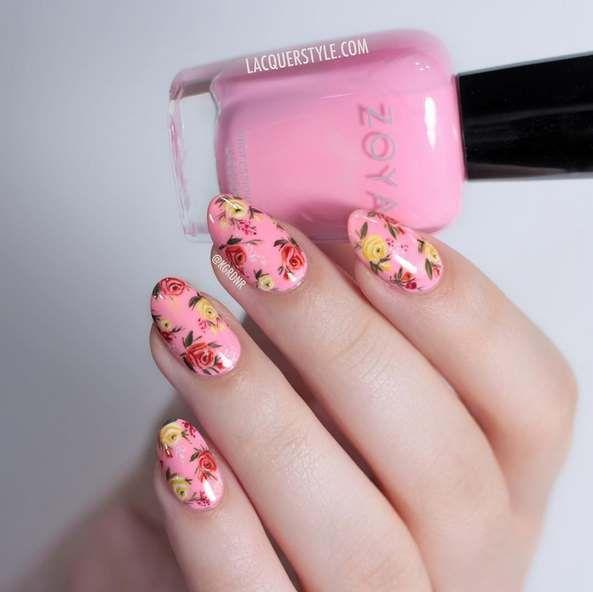 Sunt minunate, trebuie sa le vezi: 16 modele de Manichiura inspirate de Primavara!: Tablou floral pe unghii