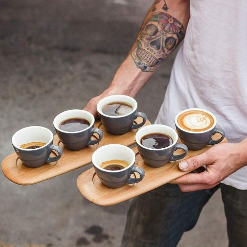 """Classy style. Cups of coffee. This is how they will be presented when you choose the """"eat in"""" option."""