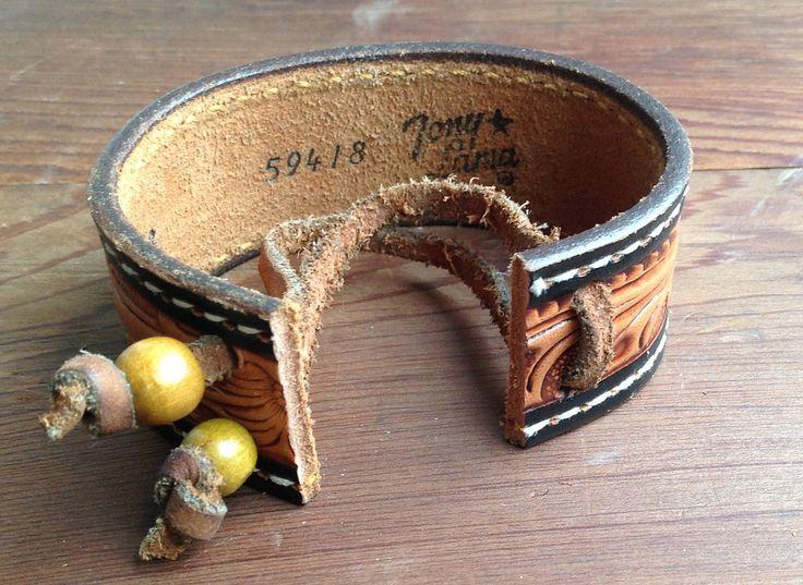 Vintage Tony Llama Tooled Leather Belt Cuff with от TigerBombe