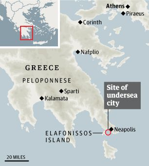 Streets and buildings found in sunken settlement dating to before classical Greece