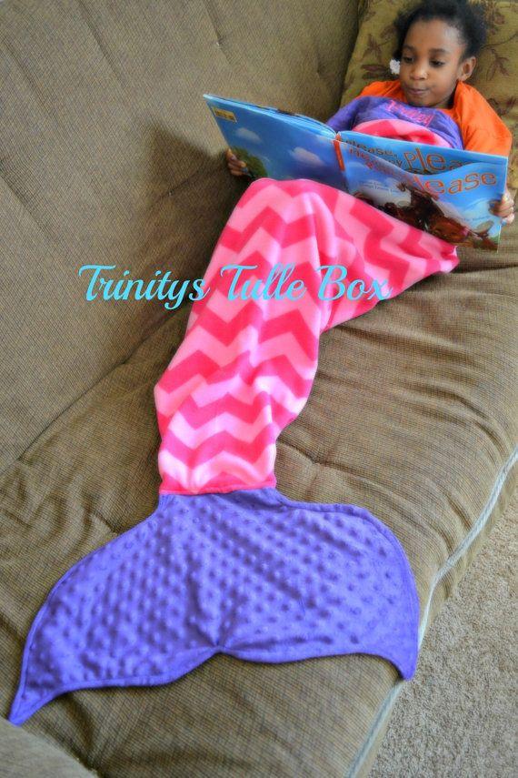 Fleece Mermaid Tail Mermaid Sleeping Blanket by TrinitysTulleBox