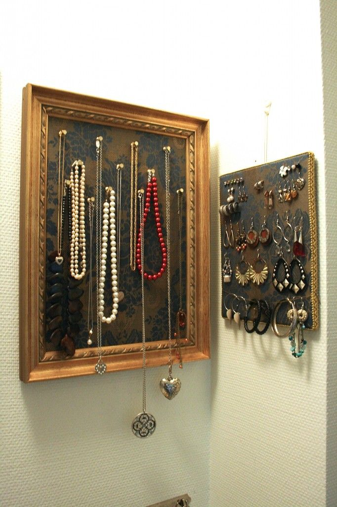 Awesome storage idea for necklesses and earrings.