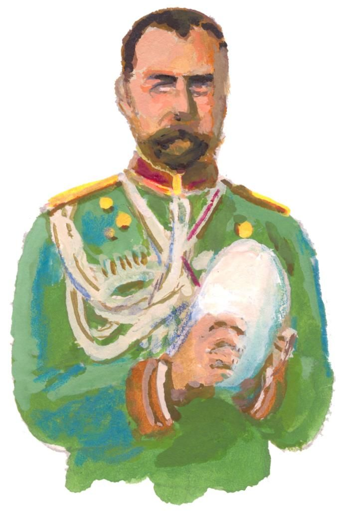 Tsar Nicholas cradles a rare albino coconut, a gift from the Sultan of Jub. When no more specimens could be found, a crestfallen Nicholas secured, as substitutes, dozens of ostrich eggs from M. Fabergé a Russo-French poultryman. The albino coconut was rendered another of history's might-have-beens.