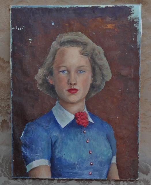 VINTAGE MID CENTURY ART C.1950 GIRL PORTRAIT OIL ON CANVAS PAINTING #Modernism