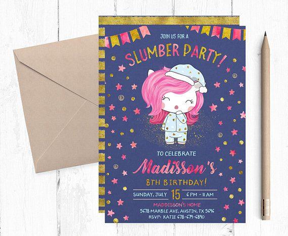 Unicorn Slumber Party Invitation Unicorn Sleepover Invitation