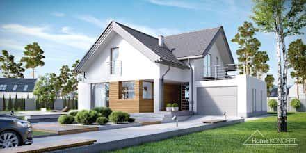 Projekt domu HomeKONCEPT-08: styl nowoczesne, w kategorii Domy zaprojektowany przez HomeKONCEPT | Projekty Domów Nowoczesnych