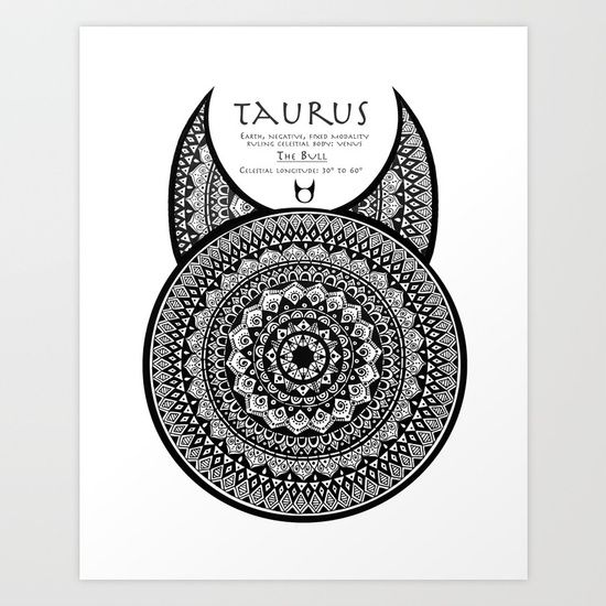 Tribal Taurus Mandala Art Print by Kokua Design Company   Society6