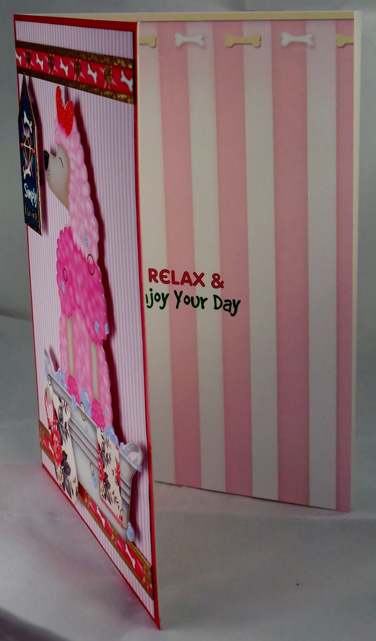 A6 card with glittered details and hand made envelope, inside message is Relax & enjoy your day