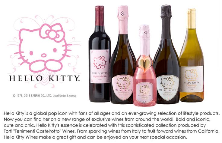 Follow this link to purchase Hello Kitty wine! Haha, sweet pink and spumante please!