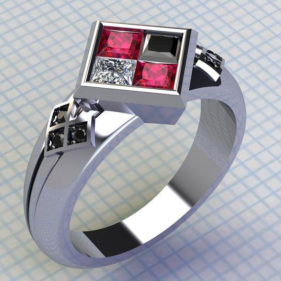 Harley Quinn Ring Ruby and Black Diamond Ring Batman Ring Joker Ring Engagement Wedding Ring Comic Book Wedding DC Comics Villain Ring