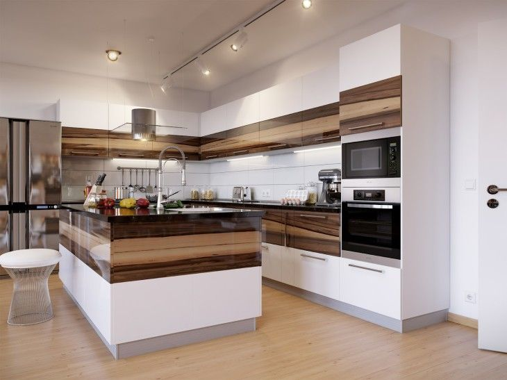 Luxurious Modern Kitchen Design With Awesome Glossy Wooden Cabinet - pictures, photos, images