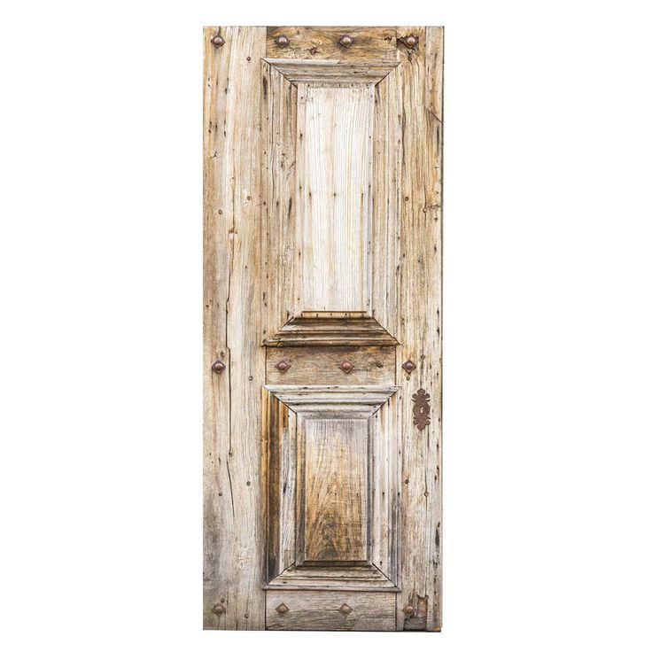 Oude grenen deur deurstickers om een saaie deur op te pimpen. Gedrukt op mat stickermateriaal, ook afwijkende maten mogelijk. GOEDKOOP LEUKE DEURSTICKERS