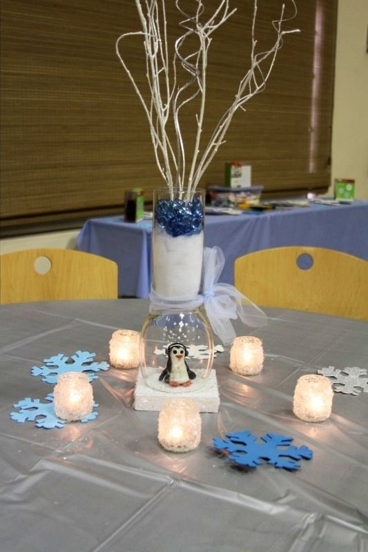 Centerpieces For Graysonu0027s Baby Shower Penguin Clay Molds Inside Glass Jars  Snowflake Votive Candles