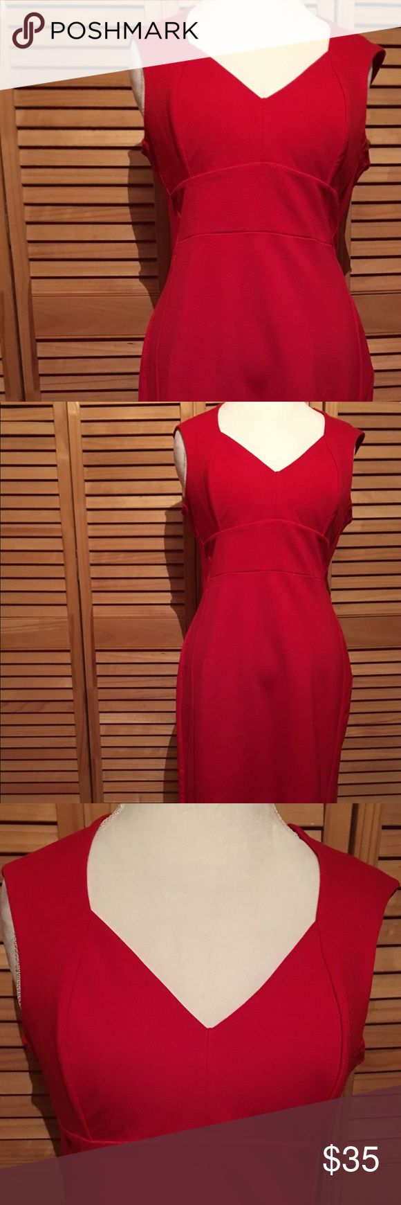 """ASOS RED DRESS ASOS red dress with back zipper, sleeveless, size 12P, new with tag, never worn. 66% viscose, 29% nylon, 5% elastase, 42"""" length from shoulder. ASOS Petite Dresses"""