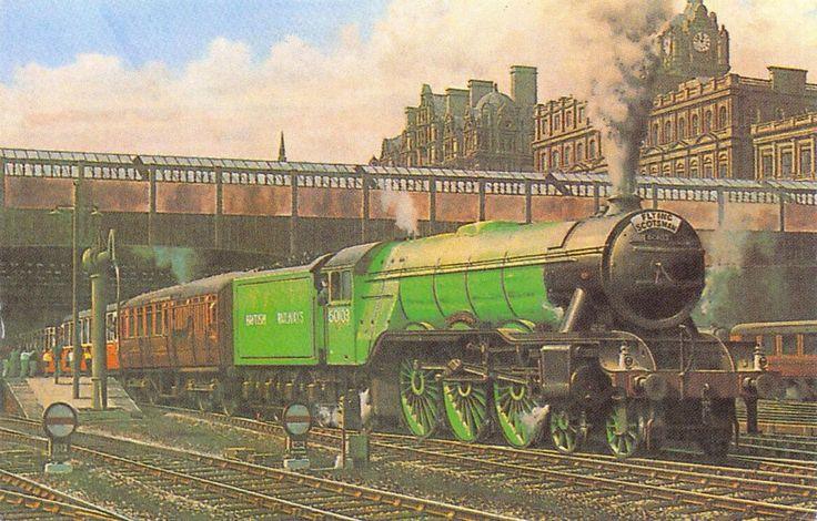 #retweet #postcard Miniature Art Postcard The Flying Scotsman, Waverley Station, Edinburgh 1948