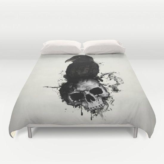 #skull #raven #crow #bird #illustration #norse #viking #mythology #hugin #munin #duvet #cover