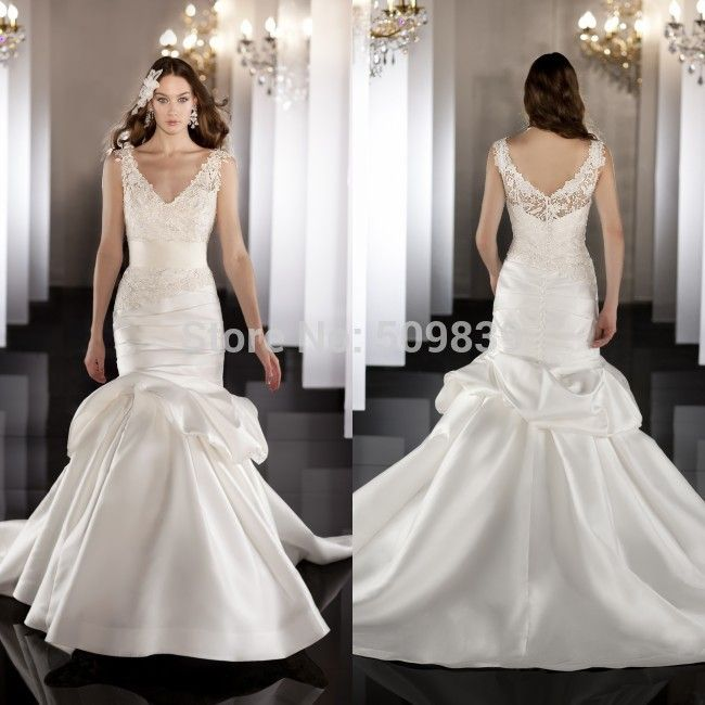 2014 на заказ русалка свадебные платья Ruched юбка свадебное платье 2014 свадебное платье винтаж свадебное платье