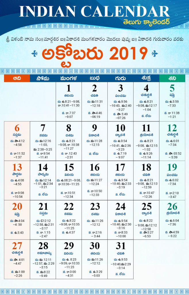 Telugu Calendar October 2019 With Holidays Tithi Nakshatra Today