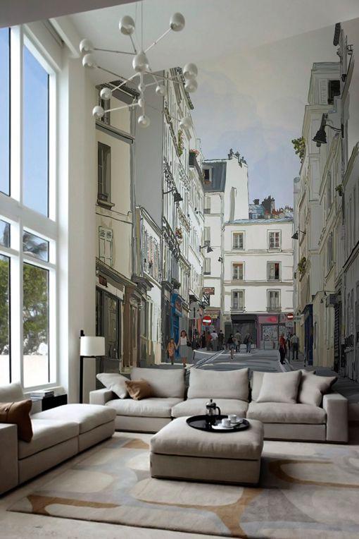 Papeles pintados murales: calle de París