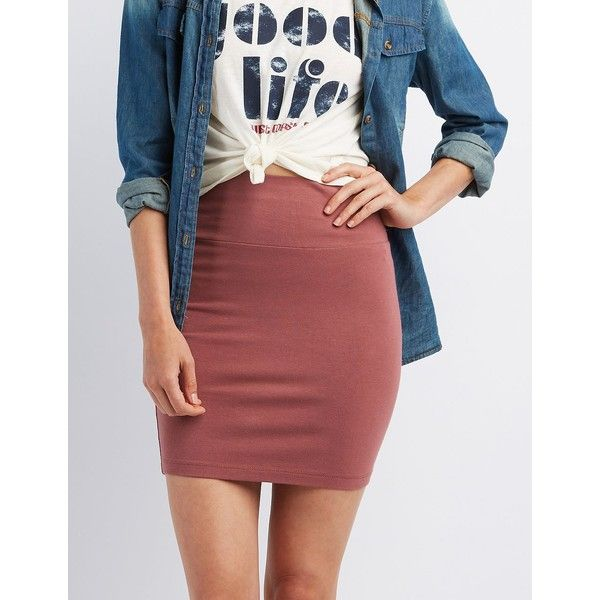 Charlotte Russe Bodycon Mini Skirt ($9.99) ❤ liked on Polyvore featuring skirts, mini skirts, red, pencil skirt, body con mini skirt, short pencil skirt, short mini skirts and mini skirt