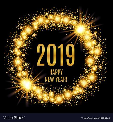 2019 happy new year glowing gold background vector image on – Sameer Nasir