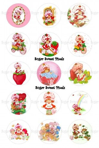 Old Style Strawberry Shortcake Inspired 1 inch Circle Bottlecap Images | SugarSweetPixels - Digital Art  on ArtFire