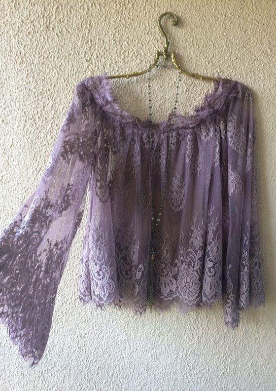 Image of Anthropologie Violet Gypsy mesh eyelash lace off shoulder Juliet  Romantic Tunic