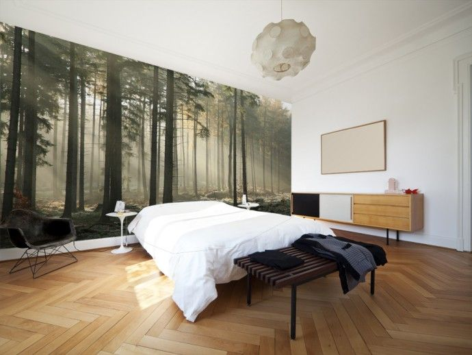 "Modern wallpaper ""Forest on a foggy morning"" #fog #forest #wallpaper #wallpapers #homedecor"