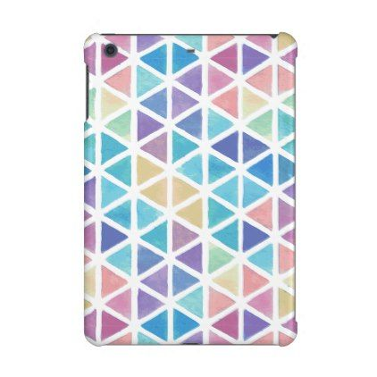 Watercolor Abstract Triangles (Coral Reef Tones) iPad Mini Retina Cover - blue gifts style giftidea diy cyo