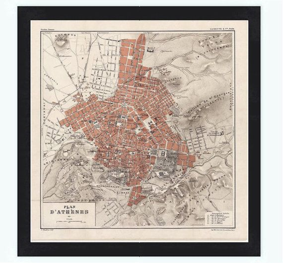 Old Map of Athens Greece 1880 by OldCityPrints on Etsy, $28.00