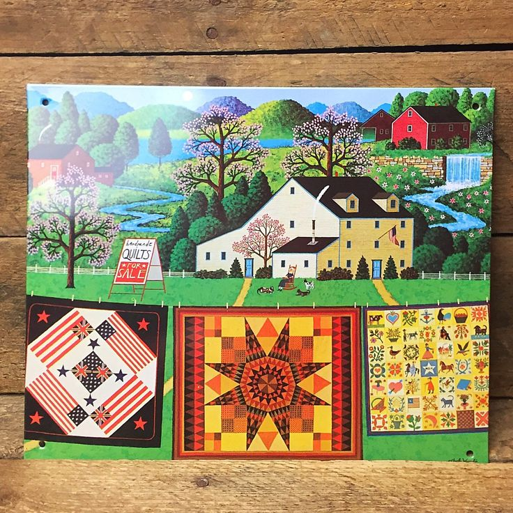 """Charles Wysocki Handmade Quilts for Sale Tin Sign 6"""" x 9"""""""