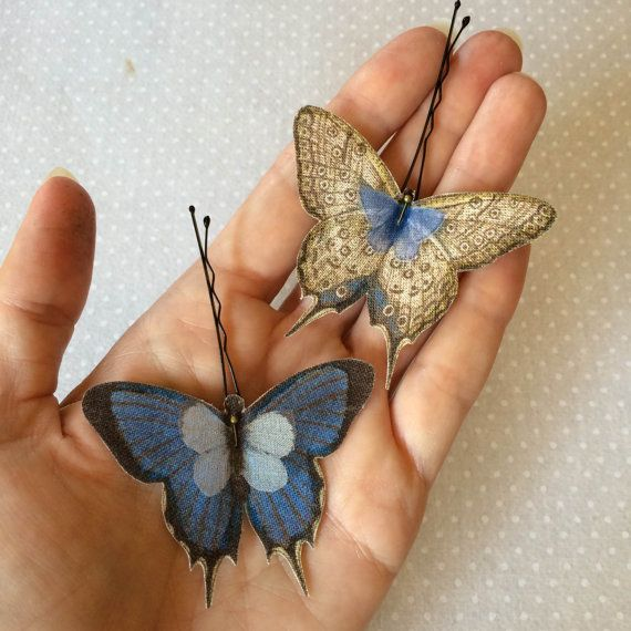Soft - Handmade Bio Cotton and Silk Organza Blue and Ivory Butterflies Hair Bobby Pin - 2 pieces