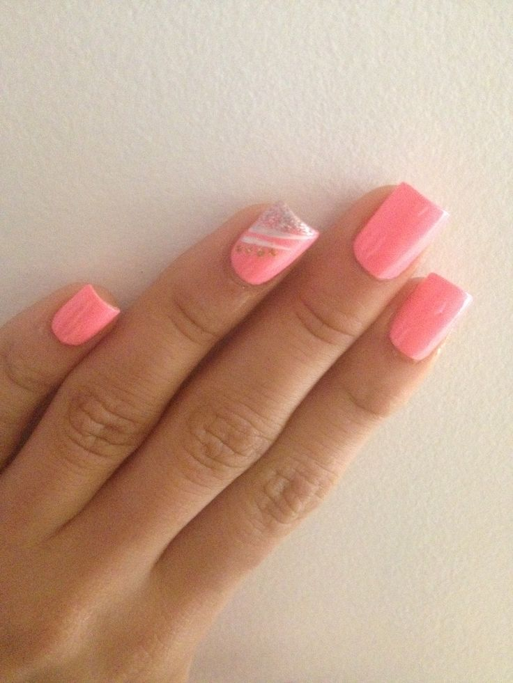 Pretty in pink with line design accent nail