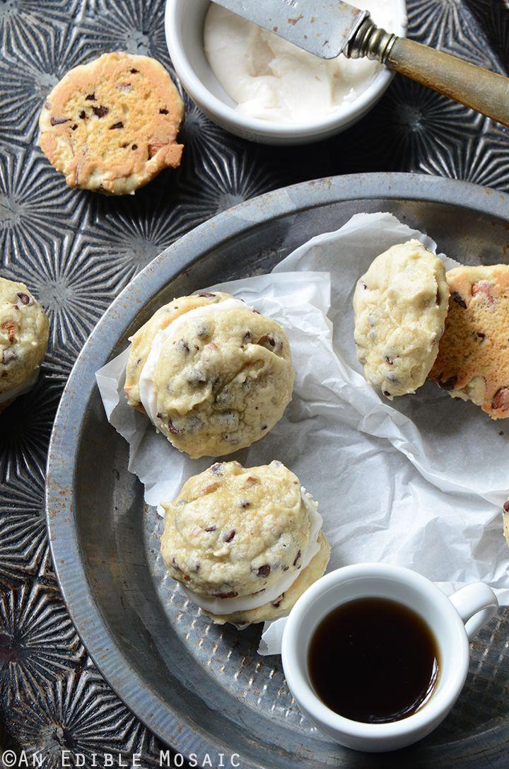 Soft Cannoli Cookie Sandwiches with Almond, Orange, and Dark Chocolate Recipe #baking #dessert