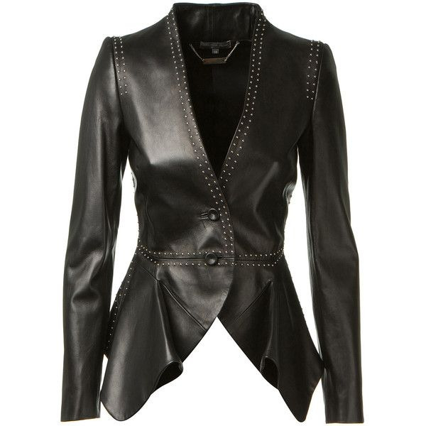 Alexander McQueen black studded leather jacket found on Polyvore